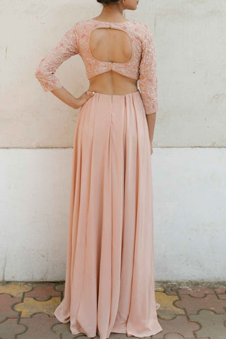 Blush Pink Silk Crepe Gown