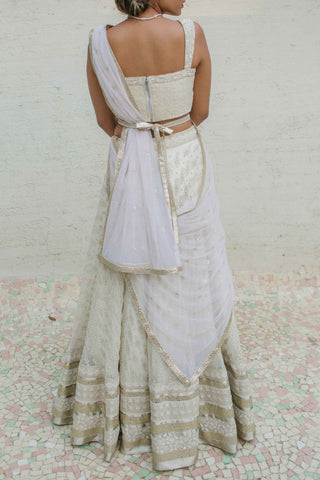Ivory White Georgette Skirt Set