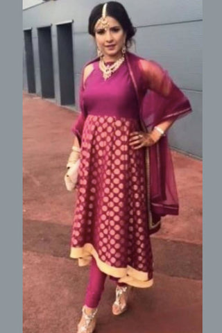 Plum & Gold Anarkali