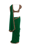 Seema Khan Green Saree Back