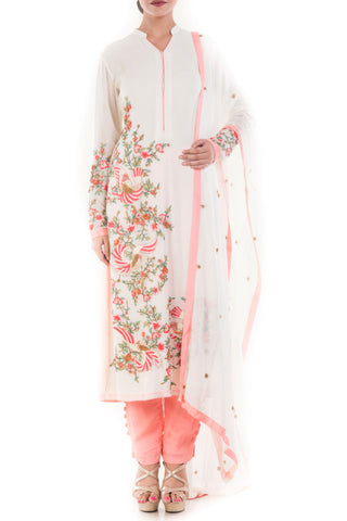 Angel White & Peach Salwar Suit Front