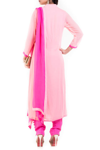 Light Pink And Fuchsia Suit Set With Cigarette Pant