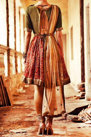 Olive Green Short Anarkali