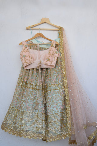 Aqua Blue Lehenga With Sequins Work & Powder Pink Threadwork Blouse