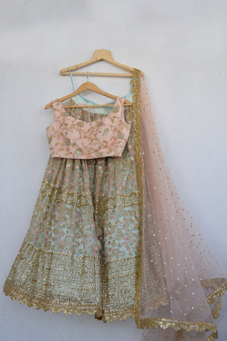 Aqua Blue Lehenga With Sequins Work & Powder Pink Threadwork Blouse FRONT