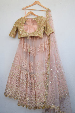 Apricot Blush Threadwork Lehenga With Apricot Blush Sequins Blouse