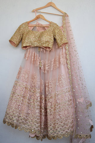 Apricot Blush Threadwork Lehenga With Apricot Blush Sequins Blouse FRONT