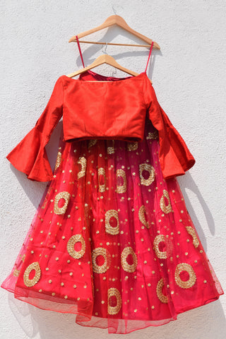 Red Ombre Lehenga  With Cutout Sleeve Croptop