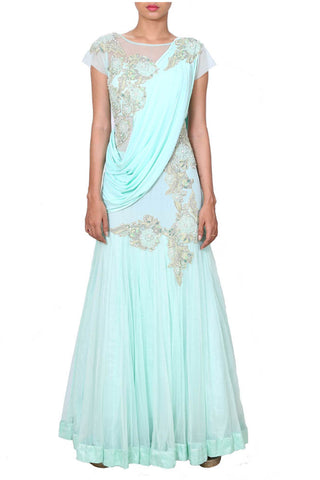 Aqua Drape Gown With A Saree Style Pallu Front