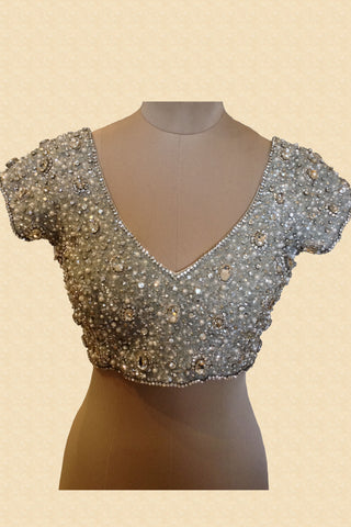 Silver Jewelled Blouse With Silver Stones Front