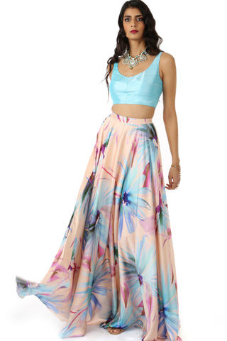 Watercolor Floral Satin Lehenga FRONT