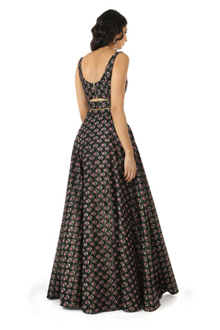 Black Metallic Structured Jacquard Lehenga