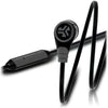 Close-up of Midnight Black and Gunmetal Diego Earbuds and Microphone