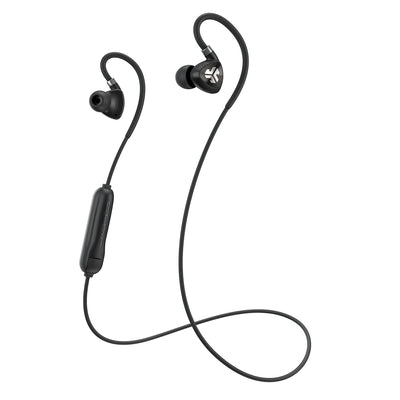 Black Fit Sport 2.0 Wireless Fitness Earbuds with Cable and Microphone