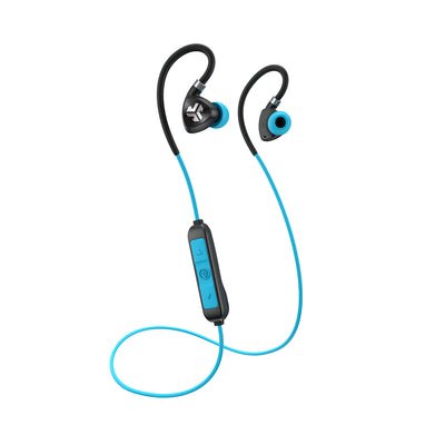 Black and Blue Fit Sport 2.0 Wireless Fitness Earbuds with Cable and Microphone