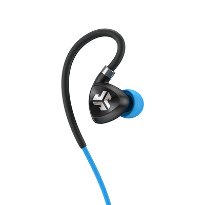 Close-up of Black and Blue Fit Sport 2.0 Wireless Fitness Earbud