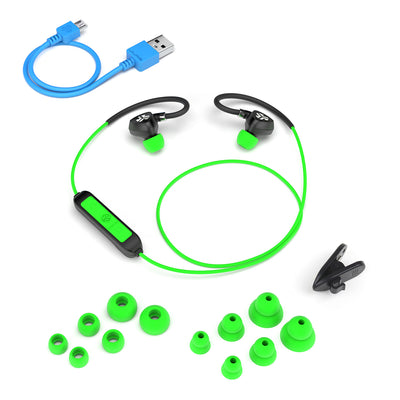 Flat Lay of Black and Green Fit Sport 2.0 Wireless Fitness Earbuds with All Eartip Sizes, Micro USB Cable, and Shirt Cable Clip