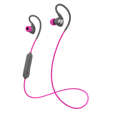 Gray and Pink Fit Sport 2.0 Wireless Fitness Earbuds with Cable and Microphone