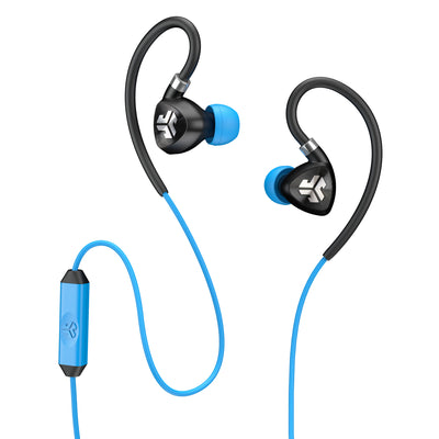 Close-up of Black and Blue Fit 2.0 Sport Earbuds and Microphone