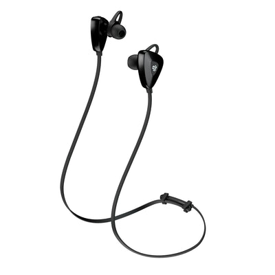 Side View of Black GO PLUS Bluetooth Sport Earbuds with Cush Fins