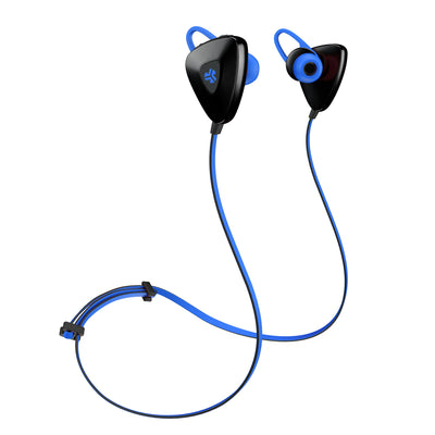 Front View of Blue GO PLUS Bluetooth Sport Earbuds with Cush Fins