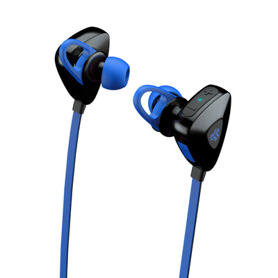 Close-up Side View of Blue GO PLUS Bluetooth Sport Earbuds with Cush Fins