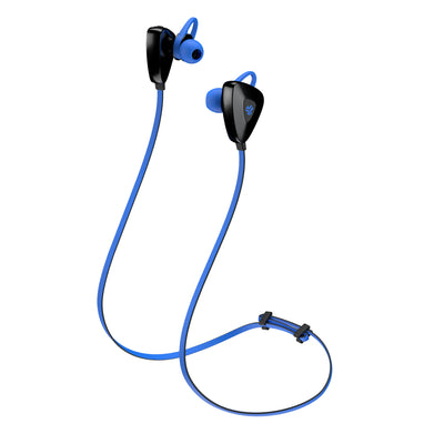 Side View of Blue GO PLUS Bluetooth Sport Earbuds with Cush Fins