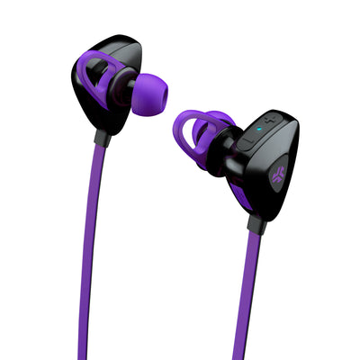 Close-up Side View of Purple GO PLUS Bluetooth Sport Earbuds with Cush Fins