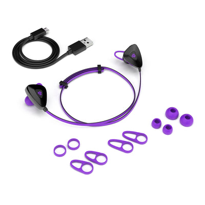 Purple GO PLUS Bluetooth Sport Earbuds with Cush Fins, All Eartip Sizes, and Micro USB Cable