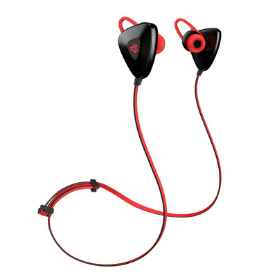 Front View of Red GO PLUS Bluetooth Sport Earbuds with Cush Fins