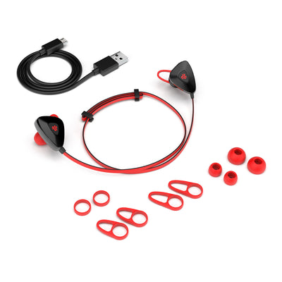 Red GO PLUS Bluetooth Sport Earbuds with Cush Fins, All Eartip Sizes, and Micro USB Cable