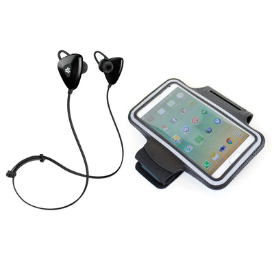 Black GO PLUS Bluetooth Sport Earbuds with Cush Fins, Armband and Cell Phone