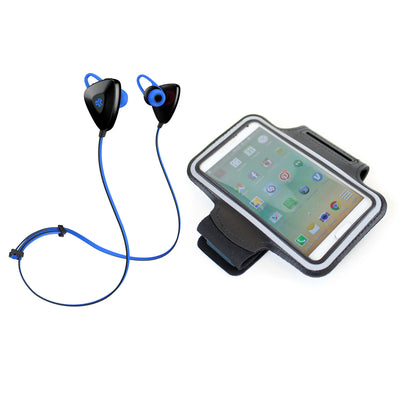 Blue GO PLUS Bluetooth Sport Earbuds with Cush Fins, Armband and Cell Phone