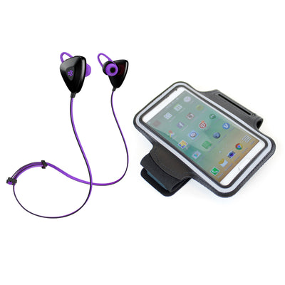 Purple GO PLUS Bluetooth Sport Earbuds with Cush Fins, Armband and Cell Phone