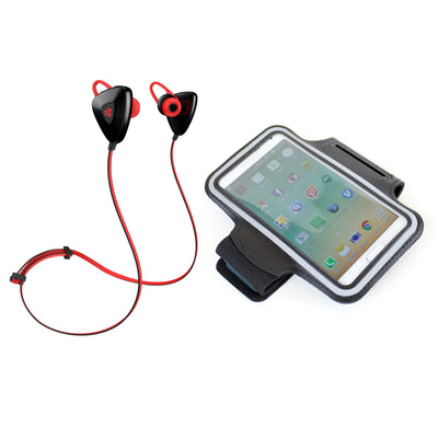 Red GO PLUS Bluetooth Sport Earbuds with Cush Fins, Armband and Cell Phone