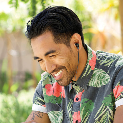 Man Wearing Midnight Black and Gunmetal Diego Earbuds