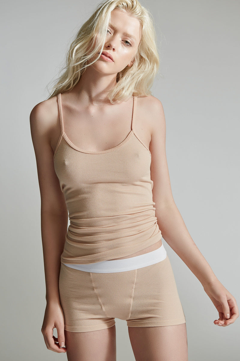 The Laurel Camisole / Sand / 2 x 1 Rib