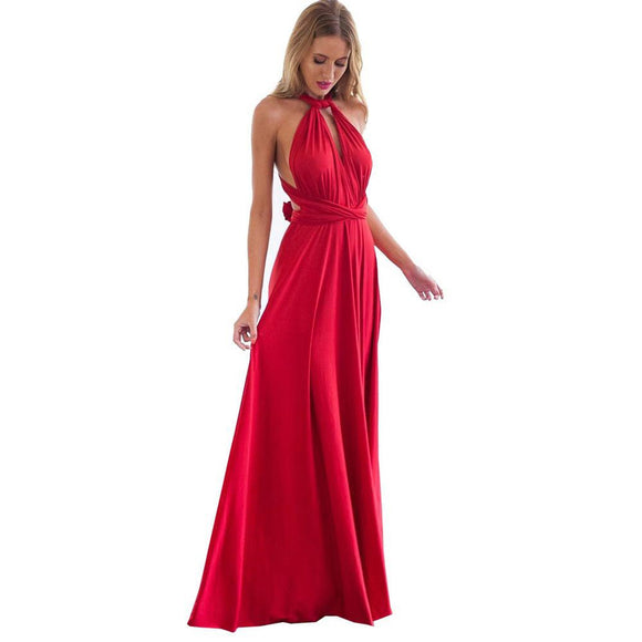 Boho Maxi Club Red Dress Bandage Long Dress