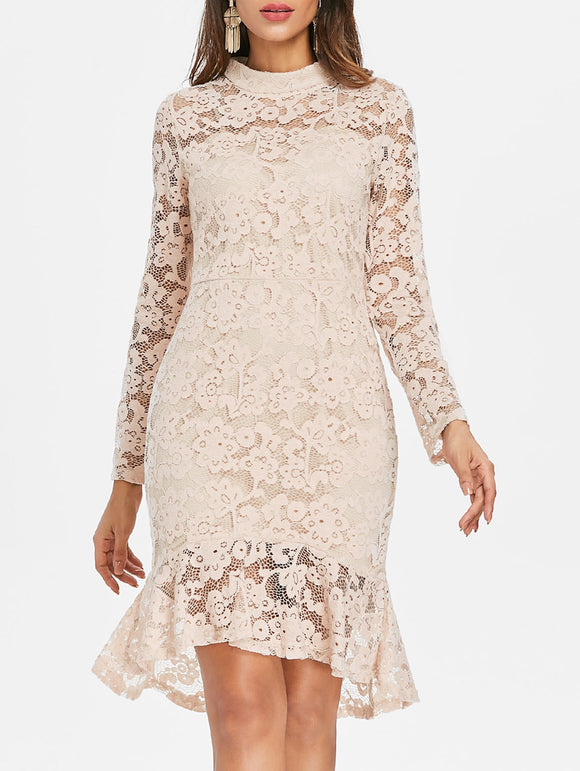 Flare Lace Overlay Mermaid Dress