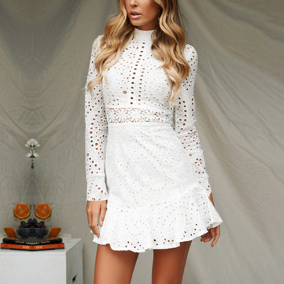 Cotton Embroidery Long Sleeve Short Dress