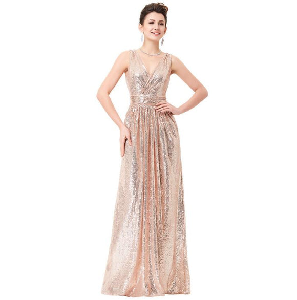Rose Gold Sequin Bridesmaid Dress