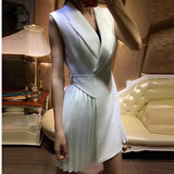 Women's Sleeveless Pleated Notched Collar Wrap Dress