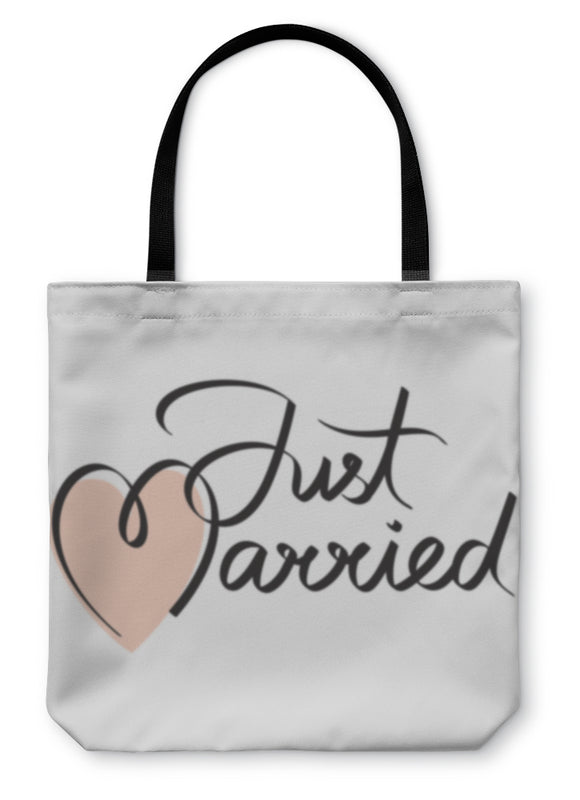 Tote Bag, Just Married Hand Lettering