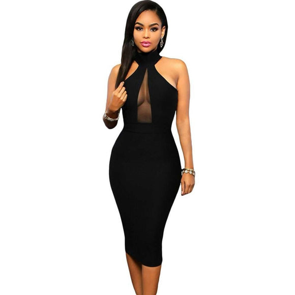 Black Sexy Sleeveless Hanging Neck Mesh Stitching Slim Dress