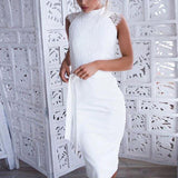 2018 Womens Elegant Wedding white dress Party Sexy Belt Night Club Stand Neck Sleeveless Sheath Bodycon OL Work Lace Dresses