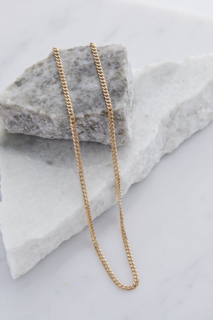 Small Hollow Curb Chain Necklace 16""
