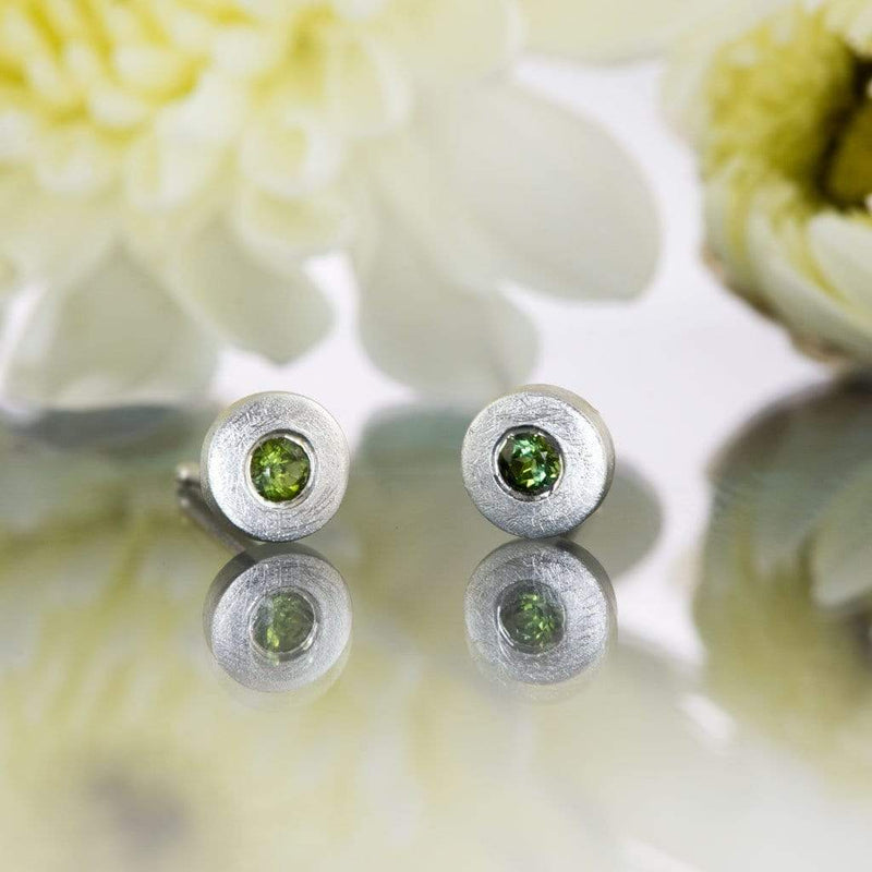 Green Tourmaline Tiny Sterling Silver Stud Earrings, Ready to Ship