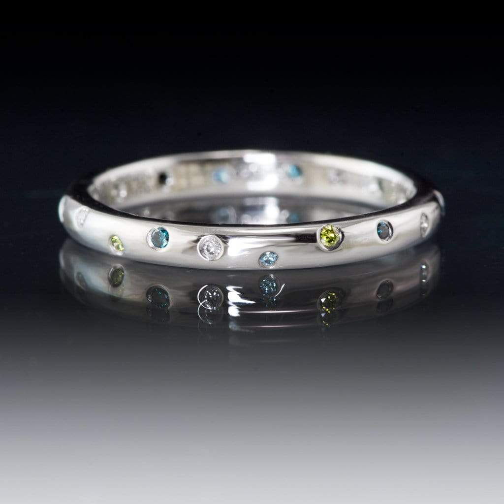 Mariella Band - Narrow Eternity Wedding Ring with white, teal & blue & green diamonds