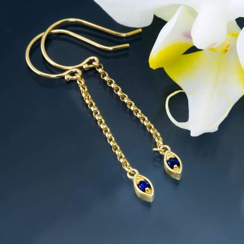 Australian Kings Plain Blue Sapphire Marquise Shape Long Dangle Earrings