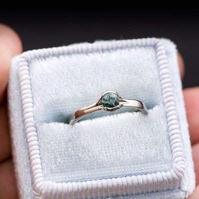 Blue-Green Round Montana Sapphire Petite Fold Solitaire Palladium Engagement Ring, Ready to size 4 to 9